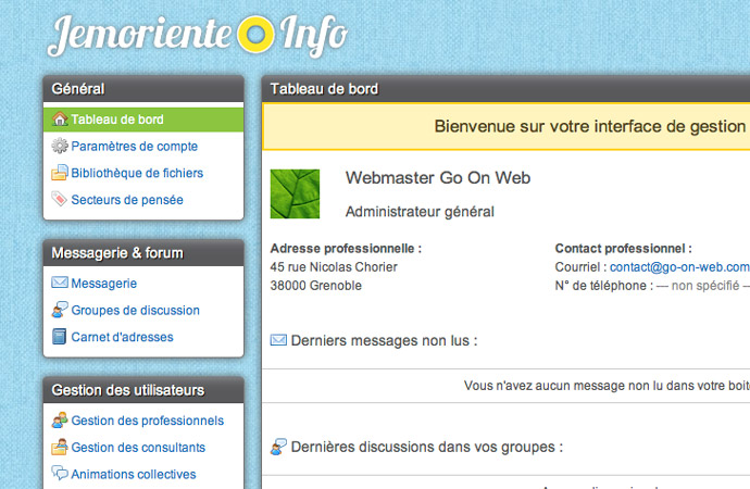 Détails de l'interface web